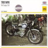 Triumph 500cm Trophy TR5   - 1951   -  Fiche Technique Moto (Grande-Bretagne) - Fiches Illustrées