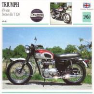 Triumph 650cm Bonneville T120  - 1969   -  Fiche Technique Moto (Grande-Bretagne) - Fiches Illustrées