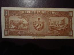 CUBA - 10 - PESOS - 1958 - F - VF - Cuba