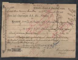 British India-1893-Receipt/Bill- Calcutta Court Of Small Causes With Victoria One Anna Revenue #A6 - India