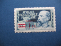 Timbre De 65 Centimes Bleu Et Vert-gris De 1937 Avec Surcharge Rouge LIBRE Et Nouvelle Valeur 1FR - A.E.F. (1936-1958)