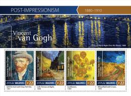 mld15401a Maldives 2015 Impressionism Painting Vincent Van Gogh s/s Flower Ship