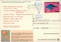 1973-Italia cartolina Siena posta trasportata con aerostato I-CAIT partenza aeroporto di Siena arrivo a Sticciano Scalo