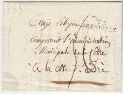 Isère :37/Grenoble Taxe 50 Sous  - Tarif Exorbitant De L'An 4- /LAC Subsistances Armée Des Alpes (2 Scans) - Marcophilie (Lettres)
