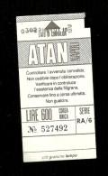 Biglietto Autobus Italia - ATAN Napoli - Corsa Unica da lire 600