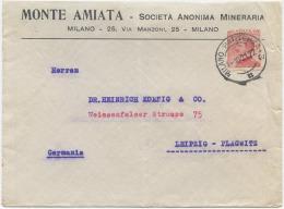 1921 MICHETTI C. 60 BUSTA INTESTATA MONTE AMIATA SOCIETÀ ANONIMA MINERARIA X GERMANIA 1.10.21 (6512) - Storia Postale