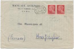 1945 LUOGOTENENZA C. 20 COPPIA ISOLATA COMPLETA CIRCOLARE A STAMPA  6.11.45 TIMBRO ARRIVO E  SPLENDIDA QUALITÀ (A514) - 5. 1944-46 Luogotenenza & Umberto II