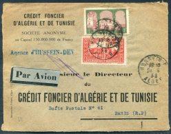 1936 France Algeria Credit Foncier D'Agerie Et De Tunisie Par Avion Agence D'Hussein-Dey Cover - Paris - Algeria (1924-1962)