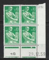 "FR Coins Datés YT 1231 "" Moisonneuse 10c. Vert "" Neuf** Du 29.12.59 - 1960-1969"