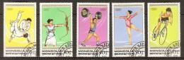 MONGOLIE    -    Série  SPORTS  .   Judo / Tir à L' Arc  / Haltérophilie / Gym /  Cyclisme Sur Piste. - Giochi Olimpici