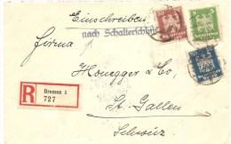 """1925 Deutschland, R.- Brief, Bremen Nach Schweiz, Mi 356, 358, 359, """"Nach Schalterschluss"""", Siehe Scans! - Cartas"""