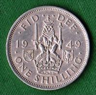 1 PIECE ANGLETERRE ONE SHILLING 1949 FID: DEF: IND: IMP: GEORGIUS VI - D: G:  BR: OMN: REX N° 73 - 1902-1971 : Monete Post-Vittoriane