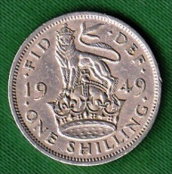 1 PIECE ANGLETERRE ONE SHILLING 1949 FID: DEF: IND: IMP: GEORGIUS VI - D: G:  BR: OMN: REX N° 75 - 1902-1971 : Monedas Post-Victorianas
