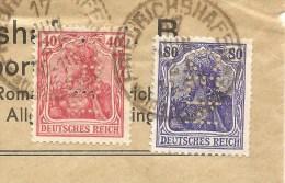 1921 Deutschland, Brief, Friedrichshafen - Schweiz, Mi 145, 149 I,Rollenmarken,  Perfin, Firmenlochung CEN, Siehe Scans! - Allemagne
