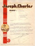 PARIS - IMPRIMERIE - ETUDES ET CREATIONS PUBLICITAIRES - FEMME - JOSEPH CHARLES - LETTRE - 1936 - Imprimerie & Papeterie