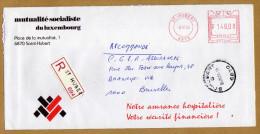 Enveloppe Cover Brief Aangetekend Registered Recommandé Mutualité Socialiste Du Luxembourg St Hubert - Belgique