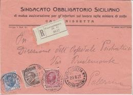 Cover Lettera Raccomandata Affr.tricolore-(Sindacato Lavoro Miniere Di Zolfo)-Viaggiata    Italy Italia - Marcophilia