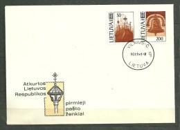 LITUANIE LIETUVA Enveloppe FDC 401, 402 La Montagne Aux 1000 Croix La Cloche De La Liberté - Lituania