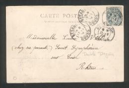 Double Daguin Besançon 17 Mars 1904 Sur TP Type Blanc 5c Vert Sur Carte Postale Hôpital Saint Jacques - Marcophilie (Lettres)
