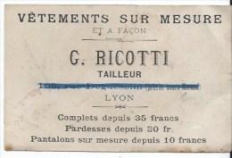 Carte Visite Publicité Vetements Sur Mesure  à Lyon - Cartes De Visite