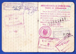 PASSPORT / PASSAPORTE - PORTUGAL 1953 - CONSULADO GERAL ESPANHA EM LISBOA/CADUCADO + DIVERS CACHETS - Historische Documenten