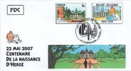FRANCE Poste 2007 #19 Cachet Premier Jour FDC TINTIN Voyages KUIFJE TIM HERGE GUEBWILLER Moulinsart Nestor - Bandes Dessinées