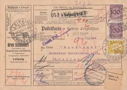 DR Paketkarte Mif Minr.2x 343,437 Leipzig 11.12.31 Gel. In Schweiz - Deutschland