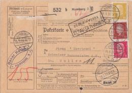 DR Paketkarte Mif Minr. 414,421,437 Hamburg 21.3.33 Gel. In Schweiz - Deutschland