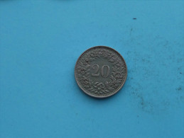 1943 - 20 Rappen / KM 29a ( Uncleaned Coin / For Grade, Please See Photo ) !! - Suisse