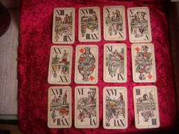 Industrie Und Gluck Tarock. 1882-1889. Joseph Glanz Of  Vienna. 12 Cards. - Tarot-Karten
