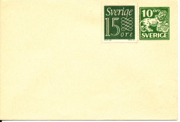 Sweden Small Postal Stationery Cover 10 öre Green Uprated With 15 öre Stamp In Mint Condition - Postal Stationery