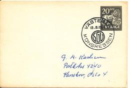 Sweden Small Postal Stationery Cover With Special Postmark SG? Kongressen Västerås 18-6-1964 - Postal Stationery