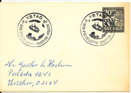 Sweden Small Postal Stationery Cover With Special Postmark Nya Färjeleden Sverige - Polen Ystad 2-4-1964 - Postal Stationery