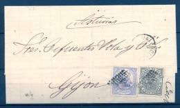1874, ED. 145, 141, ENVUELTA CIRCULADA ENTRE VALENCIA Y GIJÓN EN ASTURIAS, MAT. ROMBO DE PUNTOS - 1873 1. Republik