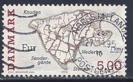 Denmark, Scott # 1024 Used Island Map, 1995 - Danemark