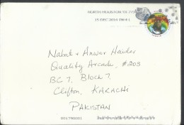 USA Airmail 2014 Slogan Cancellation Sea Surface Temperatures Global Forever Postal History Cover Sent To Pakistan. - Sin Clasificación