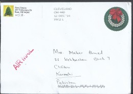 USA Airmail 2013 Silver Bells Wreath Global Forever Plate Postal History Cover Sent To Pakistan. - Sin Clasificación