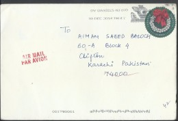 USA Airmail 2013 Slogan Cancellation Silver Bells Wreath Global Forever Plate Postal History Cover Sent To Pakistan. - Sin Clasificación