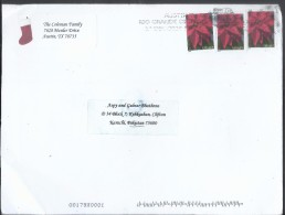 USA Airmail 2014 Forever Poinsettia Slogan Cancellation Postal History Cover Sent To Pakistan. - Sin Clasificación