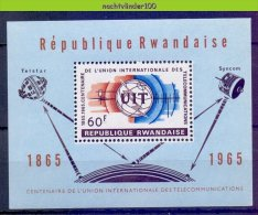 Mrd012 TRANSPORT RUIMTEVAART SATELLIET SPACE SATELLITE TELECOMMUNICATION UIT U.I.T. RWANDA 1965 PF/MNH - Telecom