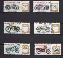 Lot 3 - Série De Timbres Oblitérés - Nicaragua 1985 - Motos Motorbies - Centenaire De La Motocyclette - Moto