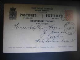 1890 ILMOLA To TURKU TRANSIT Abo Rusia Russian Administration Russia Postal Stationery Card Finland - Ganzsachen