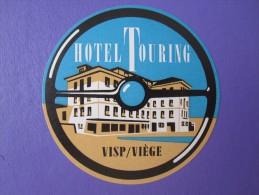 MISC HOTEL MOTEL PENSION HOUSE INN TOURING VIST VIEGE VALAIS SWISS LUGGAGE LABEL ETIQUETTE AUFKLEBER DECAL STICKER - Adesivi Di Alberghi