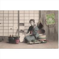 ASIATP2027-LFTD2187TARSC. Tarjeta Postal De JAPON.Mujer Con Traje Típico Japonés.Circulada - Yokohama