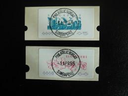 Singapore 1994-1995 - 2 ATM - Labels (flowers - Buildings) - Singapour (1959-...)