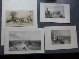 Barrières De Paris, Lot De 4 Gravures XIXème ((Courcelle, Passy, Neuilly, Passy); Ref 737 G8 - Prints & Engravings