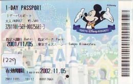 Disney Passeport Entreecard JAPON * TOKYO DISNEYLAND Passport (1229) JAPAN * 1 DAY PASSPORT - Disney