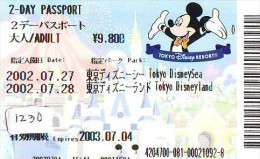 Disney Passeport Entreecard JAPON * TOKYO DISNEYLAND Passport (1230) JAPAN * 2 DAY PASSPORT - Disney