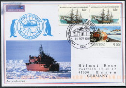 2007 AAT Antarctic Davis Aurora Australis Research Expedition Ship Penguins Postcard - Covers & Documents