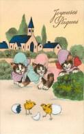 Chats - Oeufs - Poussins - Thème ** Joyeuses Pâques **- Voir Scans - Chats